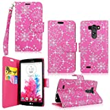 Cellularvilla Pu Leather Wallet Card Flip Open Pocket Protective Case Cover Pouch Compatible with LG G Vista VS880 (Pink Glitter)