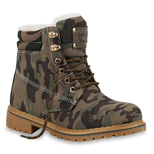 Damen Schuhe Stiefeletten Worker Boots Warm Gefütterte Outdoor 153744 Camouflage Autol 38 Flandell