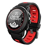 OOLIFENG GPS Sport Smart Watch, Heart Rate Monitor with Altimeter Barometer Compass Heart Rate Monitor IP68 Waterproof Digital Watch for Outdoor Sports, Red