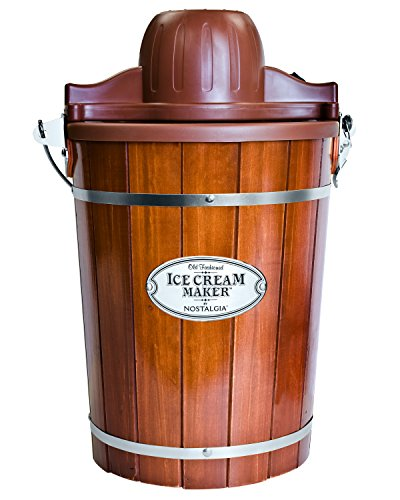 Nostalgia Electric Bucket Ice Cream Maker With EasyCarry Handle Makes 6Quarts in Minutes Frozen Yogurt Gelato Made From Real Wood Brown