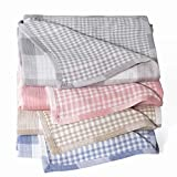 StyleChic Cotton Muslin Throw Blanket with Buffalo Check Pattern, Vintage Indoor and Outdoor Use, Reversible and Breathable Fabric for Yard Picnics, Bedding or Chair Cover, Pink