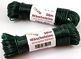 Wäscheleine 50m mit Stahleinlage -K&B Vertrieb- Stahlseil Stahlseilwäscheleine Wäsche Leine extra stark 704 (Grün) -