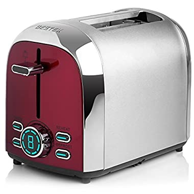 Toasters, BESTEK 2-Slice Toaster Stainless Steel Digital Display with 7 Level Shade Controls and 4 Mode Setting