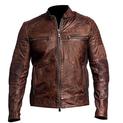 Mens Vintage Cafe Racer Distressed Brown Biker Leather Jacket