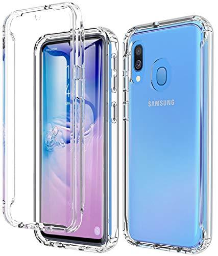 OWKEY Samsung Galaxy A40 Hülle, 360 Grad R&umschutz Transparent TPU Silikon Weiche Handyhülle Schutzhülle Hülle, Crystal Clear Stoßfest Robust Bumper Cover Slim Fit Mit Eingebautem Bildschirmschutz