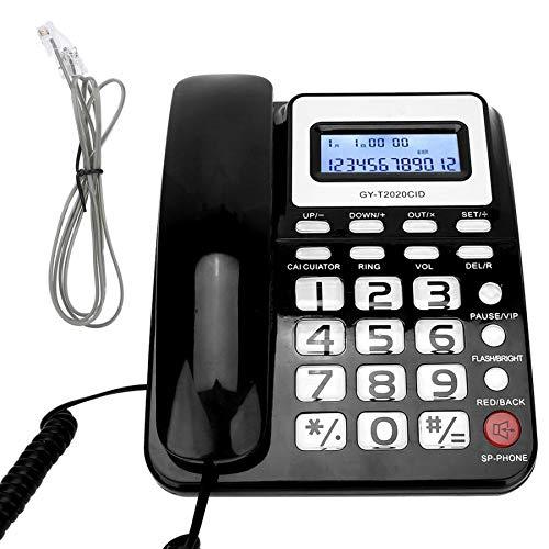 ZHPBHD Teléfono Teléfono con Cable con Altavoz Pantalla de Voz CALCULATER para HOGAR Oficina DE Oficina DE Hotel TELÉFONOS DE LANZARIOS (Color : Black)