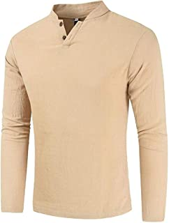 Gocgt Mens Tee V Neck Cotton Linen Solid Color Slim Long Sleeve T Shirt Tee 1 Small