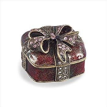 SARO LIFESTYLE Bejeweled Present Gift Storage Box 2.6  x 2.6  x 1.4  Red
