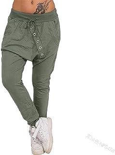 Jmwss QD Women High Waist Button Down Solid Color Baggy Casual Harem Pant 1 XX-Small