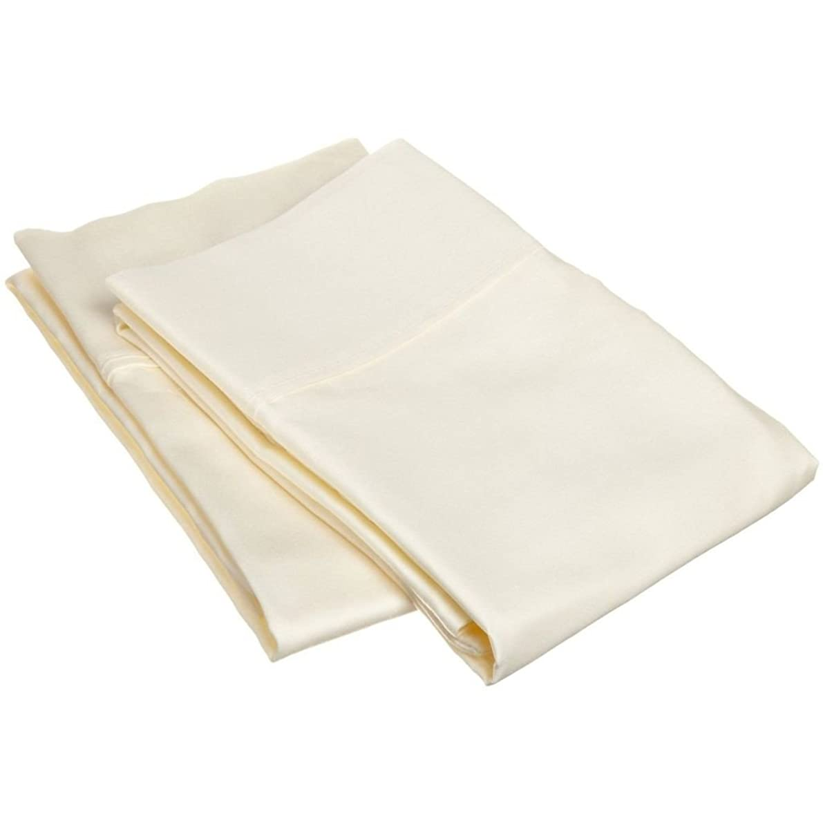 Rajlinen Ultra Soft Sateen Finish 2 Qty Pillow Case Egyptian Cotton 600-Thread-Count Bland Durable Ivory Solid Standard Size