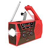 Radio d'urgence portable à manivelle solaire Radio d'urgence auto-alimentée avec batterie externe 2000mAh Lampe de lecture LED Lampe de poche USB Chargeur de téléphone pour la randonnée en camping