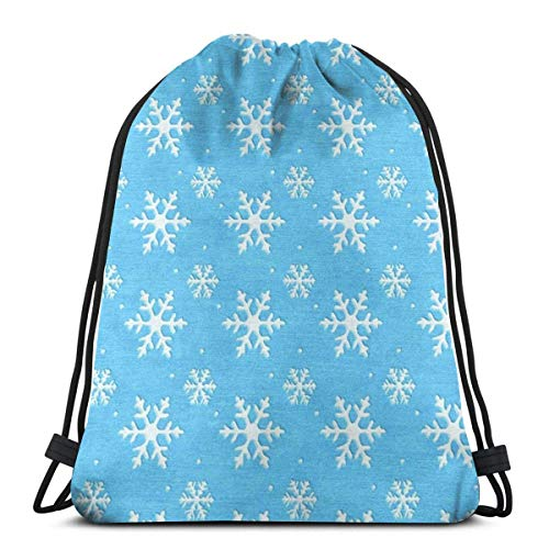 AOOEDM azul congelado copo de nieve bolsa con cordón impermeable gimnasio mochila de almacenamiento mochila para senderismo al aire libre viajes deporte Unisex
