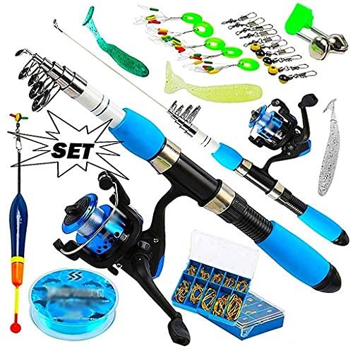KCGNBQING Caña de Pescar Kits completos con caña de Pescar telescópica y cebos de Spinning Cebos Ganchos de Agua Salada Polo de Viaje de Agua Dulce caña de Pescar