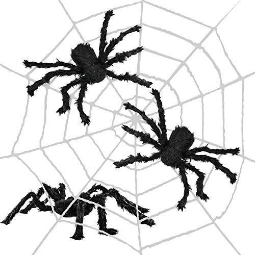 THE TWIDDLERS Telaraña Grande de 3 Metros - Incluye 3 Arañas Realistas Decorar Halloween - Ideal Decoración para Fiestas y Eventos de Halloween.