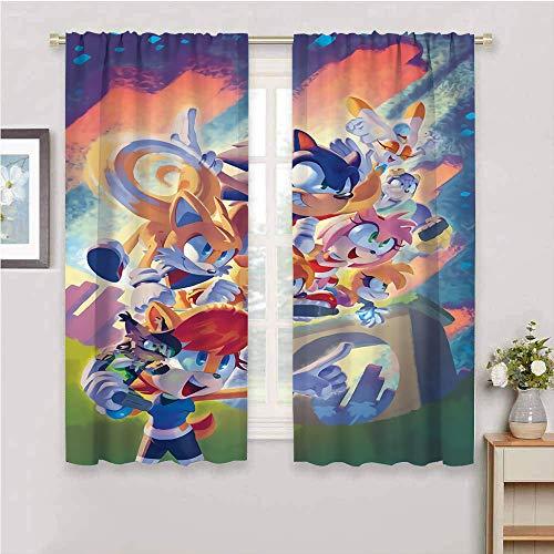 Panel de cortina opaca con bolsillo para barra, aislamiento térmico Sonic the Hedgehog, cortinas de oscurecimiento para sala de estar de 63 x 63 pulgadas