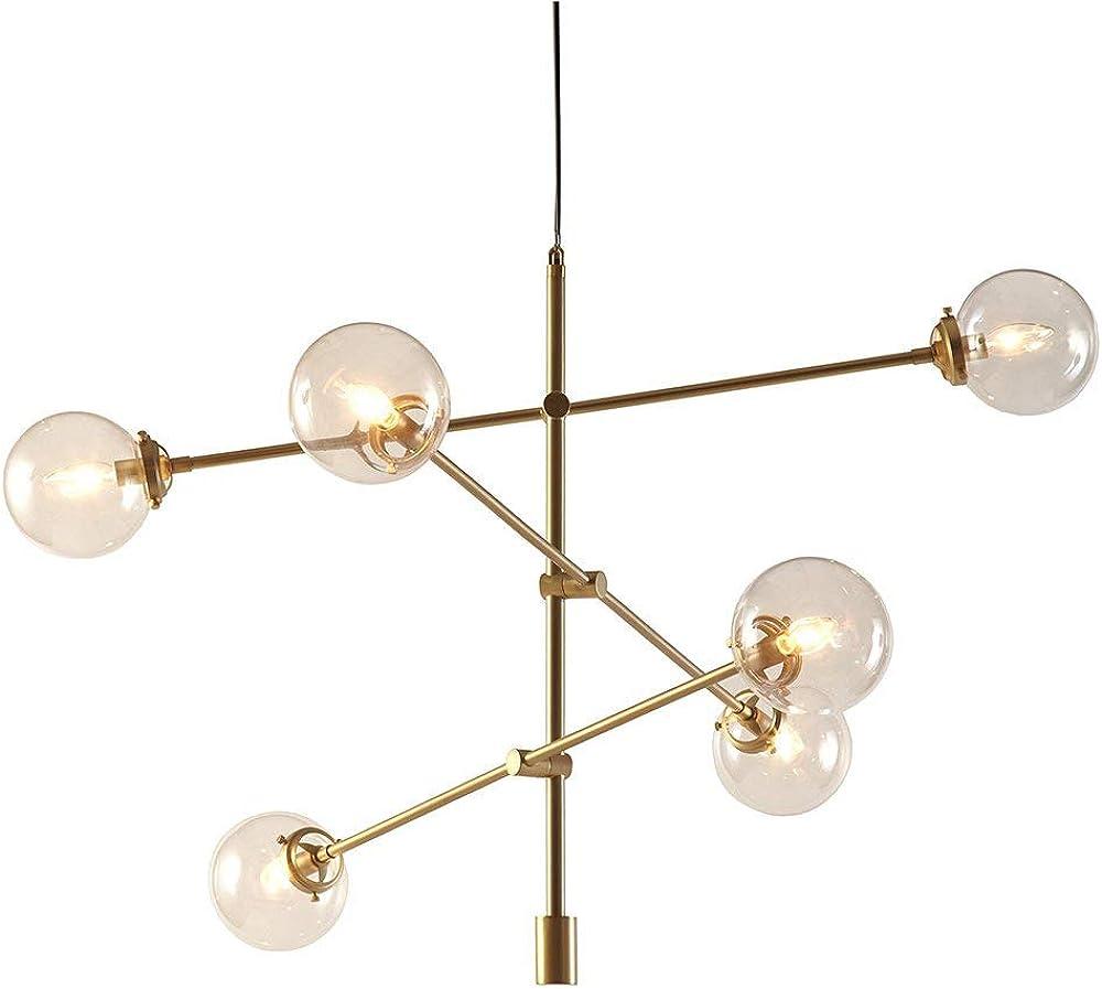 Lampadario moderno illuminazione 6 luci con bracci regolabili xajgw