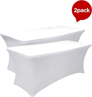 SEPARO 468FT Stretch Tablecloth Rectangular Spandex Table Cover for Outdoor Party DJ Tradeshows Banquet Vendors Weddings Celebrations, etc (White, 2PC 4FT)