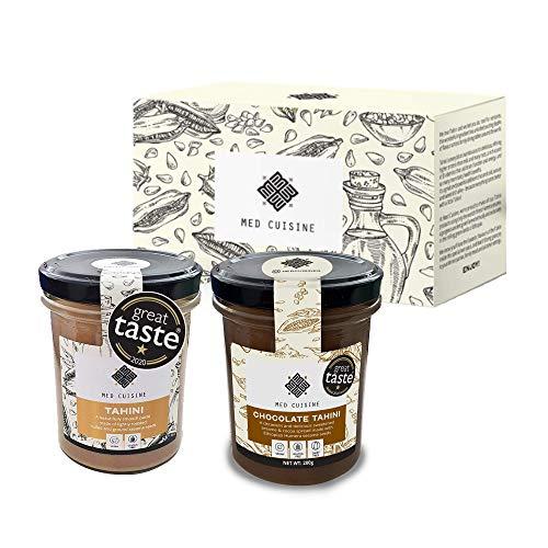 ¡Med Duo, un set de regalo festivo! Premio Gran Sabor de Med Cuisine Tahini Natural, Chocolate y Negro - Vegano, Sin Gluten, Sin Lactosa. ¡El mejor regalo para los amantes de la comida! (2 x 200 g)