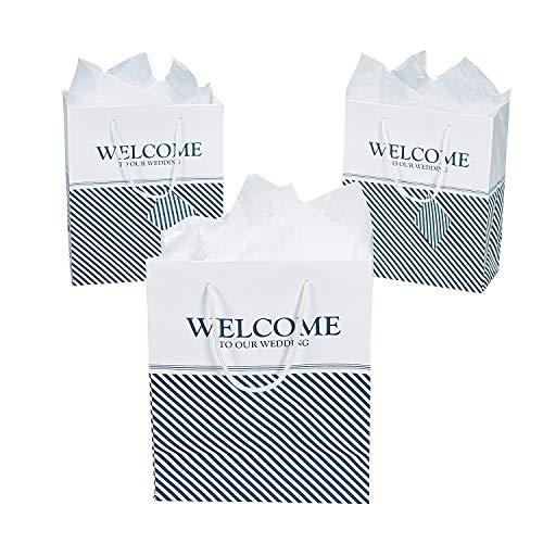 Nautical Welcome Wedding Gift Bags, Navy, 12 ct