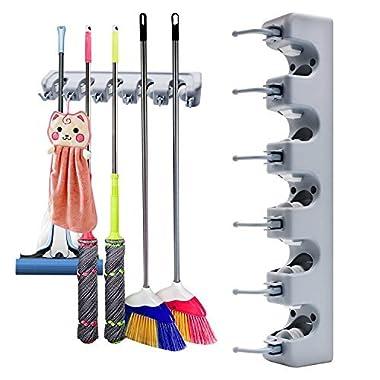 Broom Holder Wall Mount VOTRON Mop Broom Holder Hanger Rack Organizer Storage Hooks for Kitchen Garden Garage and Bathroom Laundry Room (with 5 Position 6 Hooks)
