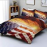 Juego de funda nórdica, bandera en frente de Sunset Sky con Horizon Light America Union Idílico Juego de ropa de cama de 3 piezas con decoración fotográfica con 2 fundas de almohada, multicolor, el me