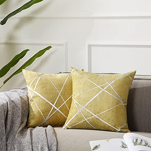 Gigizaza - Funda de cojín grande de 50 x 50 cm, funda decorativa cuadrada de color amarillo para dormitorio, sofá, sala de estar, 2 unidades