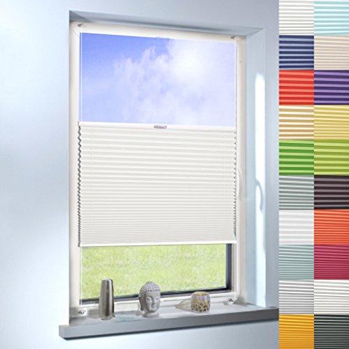 Sun World Plissee nach Maß, Klemmfix ohne Bohren, Faltrollo nach Maß Faltstore Maßanfertigung für Fenster und Türen (Farbe: Cremeweiß, Höhe: 100cm x Breite: 30cm)