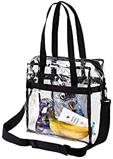 Bags for Less Clear Tote Stadium Approved with Adjustable Shoulder Straps and Mesh Pockets