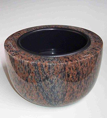 designgrab Coupe funéraire moderne - Diamètre : 25 cm - En granit Gneis Halmstad/Barap