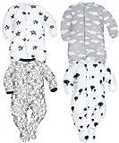 Sibinulo Garçons Filles Pyjama Bébé Grenouillere Lot de 4 étoiles éléphants Noirs Ballons et Nuages 68(3-6 Mois)