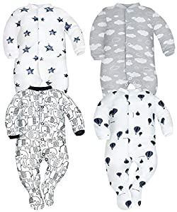 Sibinulo Nino Nina Pijama Bebé Pelele de Algodón Pack de 4 Estrellas Elefantes Negros Globos y Nubes 56(0-3 Meses)