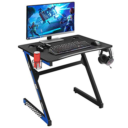 """Mr IRONSTONE 31.5"""" Gaming Desk PC Computer Desk Home Office Student Table for Small Space Z-Shaped with Cup & Headphone Holder and 2 Cable Management Holes (Blue)"""