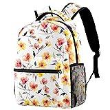 Mochila escolar personalizable para niños y niñas, diseño floral naranja
