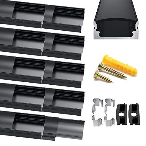 Chesbung LED Aluminium Profil, 10X1m LED Aluminium Leisten U-Form, LED-Kanäle, LED Profil Schwarz für LED-Streifen (1-12mm), mit Endkappen, Metall Befestigungs Clips und Montagematerial