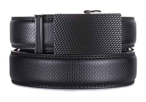 Marino Men's Genuine Leather Ratchet Dress Belt with Automatic Buckle, Enclosed in an Elegant Gift Box – Black Buckle with Black Imprinted Leather – Custom: Up to 44″ Waist