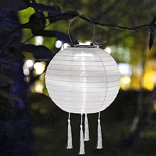 Serria Solarlaterne für Außen - Solar LED Lampion Party Garten Laterne, wasserdichte Solar Hängende LED-Licht-Laternen Solar Lichter, für Hochtzeit Kirche Party Dekoration (Weiß, 25cm)