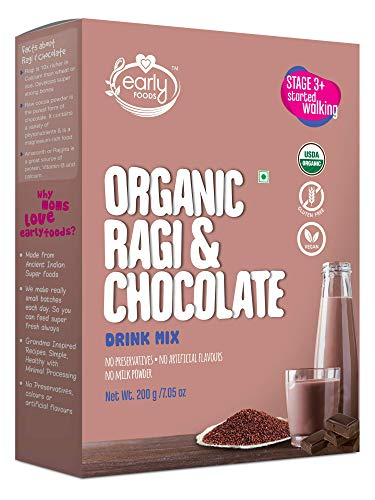 Early Foods - Organic Ragi & Chocolate Health Drink Mix for Kids 200g