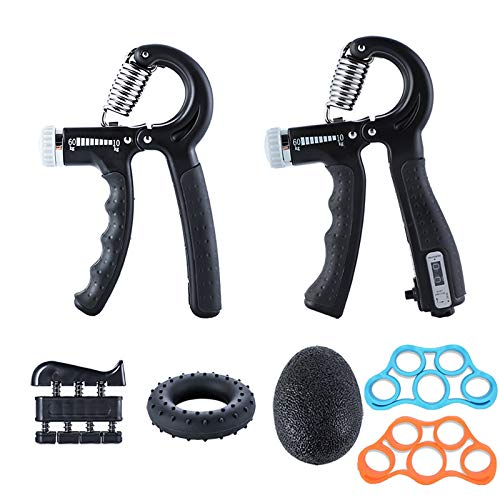 Ufree Grip Strength Trainer 7 Pack Hand Grip Strengthener Forearm Workout Hand Strengthener Kit Adjustable Hand Gripper 11-132LB Hand Exerciser Forearm Grippers