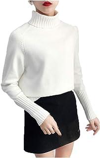 Otoño Invierno Mujeres Suéteres de Punto Jerseys de Cuello Alto de Manga Larga de Color sólido elástico Delgado Mujeres su...