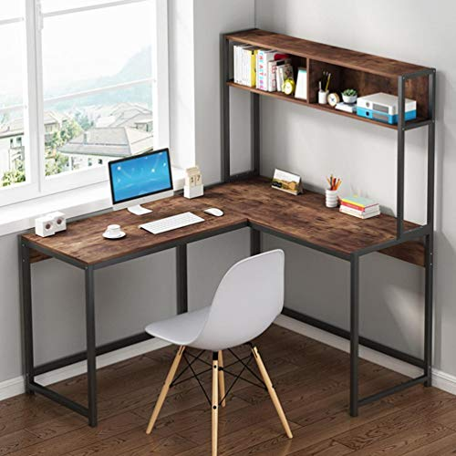 【Fast Delivery】 Modern L Shaped Desk with Shelf, Home Gaming Corner Desk PC Laptop Writing Study...