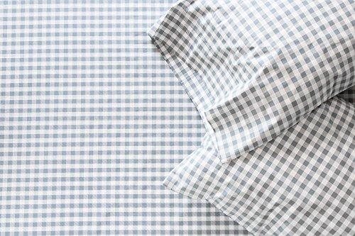 Thread Experiment Gingham Print Sheet Set for Men, Charcoal, King