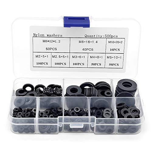 Yuhtech 500 Stück Flach Unterlegscheiben Nylon-Unterlegscheiben-Sortiment-Kit M2 M2,5 M3 M4 M5 M6 M8 M10 Runde Unterlegscheibe für Mechanische Industrie Befestigungen