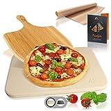 Amazy Piedra para Pizza (38 x 30 x 1,5 cm) + Pala de Bamb + Papel Horno...