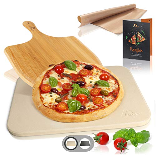 Amazy Pizzastein inkl. Bambus Pizzaschaufel, Dauerbackfolie und Beileger – Der Ultra-hitzebeständige Brotbackstein verleiht Ihrer Pizza den original italienischen Geschmack knuspriger Steinofenpizza