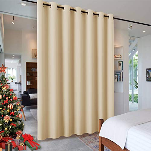 RYB HOME Room Divider Curtains Total Privacy Screen Thermal Insulated Soundproof Curtains Blinds for Living Room Bedroom Basement Large Window Covering, 1 Pc, Beige, W 12.5ft x L 8ft