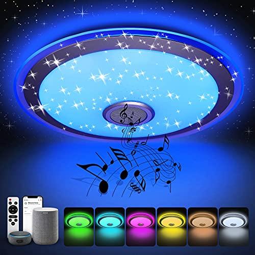 Halussoer Smart LED Deckenleuchte mit Bluetooth Lautsprecher, 48W 4000lm LED Deckenlampe WLAN Mehrfarbige Dimmbar, Kompatibel mit Alexa und Google Home, ideal für Küche, Schlafzimmer,Wohnzimmer, Ø43cm