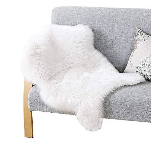 JSM Faux Lammfell Schaffell Teppich (60 x 90cm) Lange Haare Flauschig Lammfellimitat Teppich kunstfell Fell Bettvorleger Wohnzimmer Nachahmung Wolle Sofa Matte (Weiß)