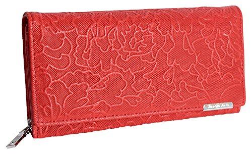 Designer Damen Echtleder Geldbörse Exclusives Portemonnaie aus geprägtem Leder Geldbeutel für Frauen Portmonee in 4 Farben (5554) (Rot)