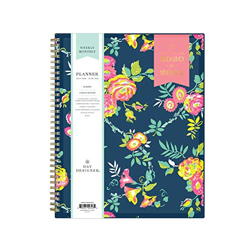 Day Designer for Blue Sky 2020-2021 Academic Year Weekly & Monthly Planner, Flexible Cover, Twin-Wire Binding, 8.5' x 11', Peyton Navy