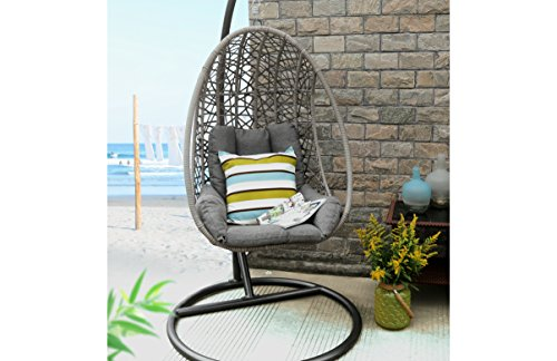 Baner Garden Oval Egg Hanging Patio Lounge Chair Chaise Porch Swing Hammock Single Seat Stand Wicker with Cushion, Full, Black